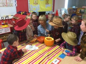 Having a great time at the 'Harvest Hoolie' in Mrs Callaghan's Class