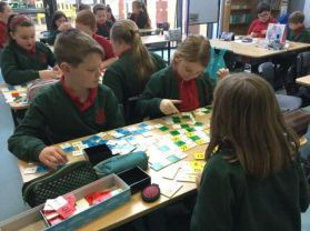 Practising our times tables with Maths games in Mrs Barr/ Miss McKeown's class